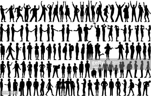 highly detailed people silhouettes - people stock illustrations