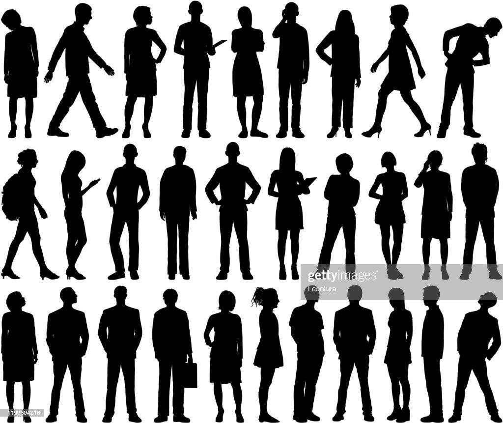 Sehr detaillierte Menschen Silhouetten : Stock-Illustration