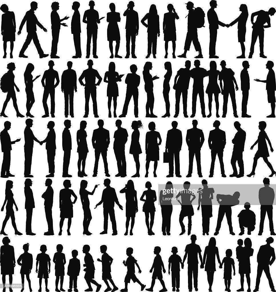 Sehr detaillierte Personen Silhouetten  : Stock-Illustration