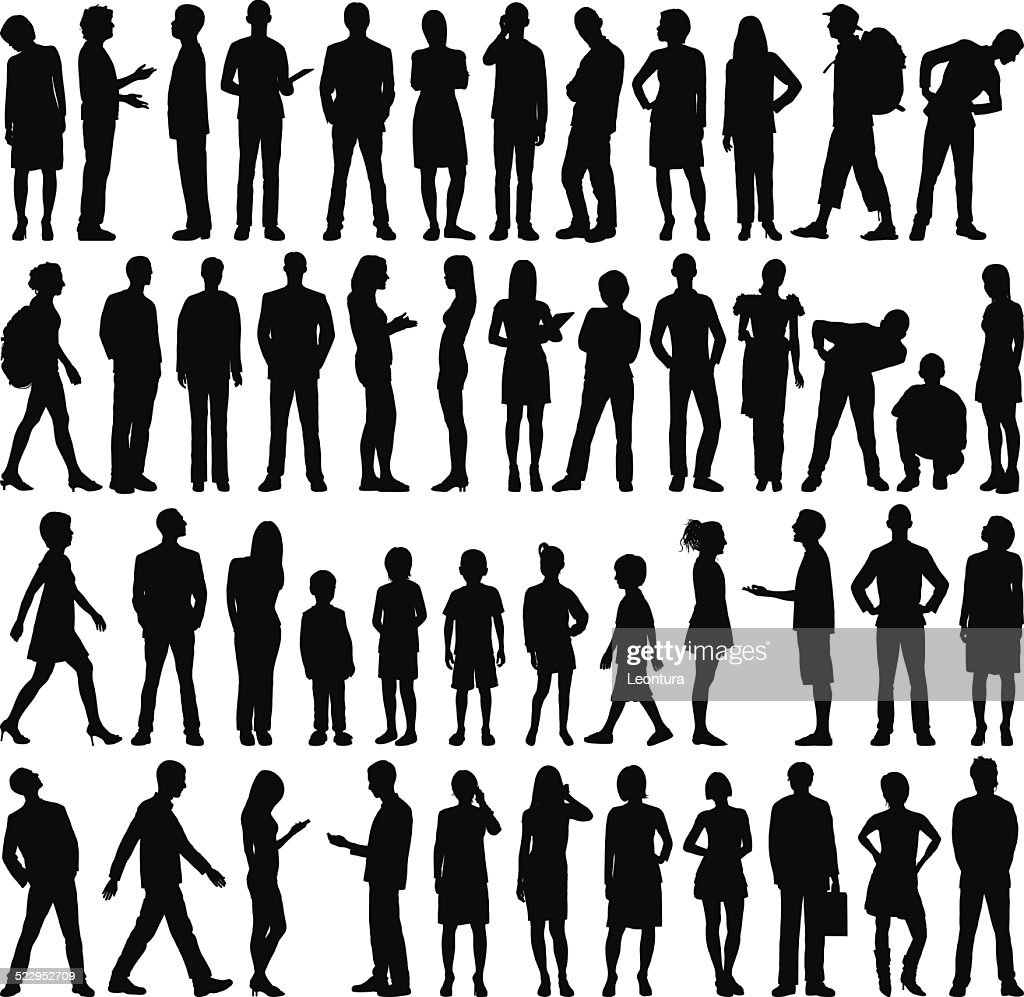 Highly Detailed People Silhouettes : stock illustration