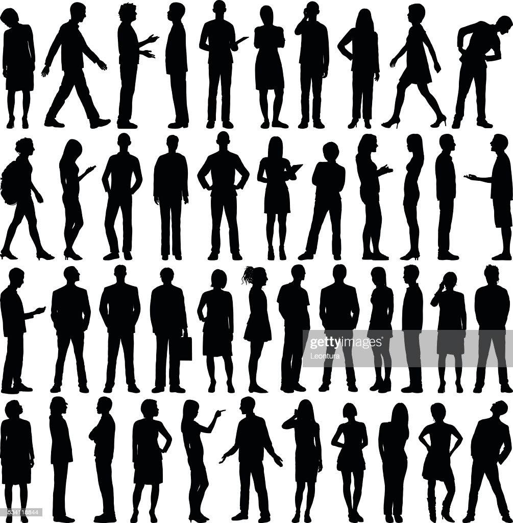 非常に詳細な人々のシルエット : ストックイラストレーション