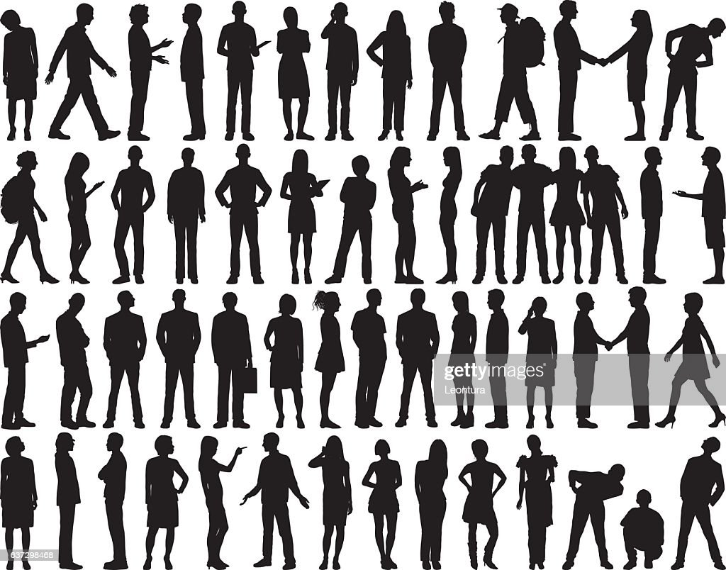 Highly Detailed People Silhouettes : Stockillustraties