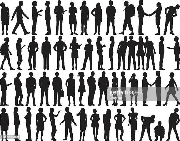 highly detailed people silhouettes - mature adult stock illustrations
