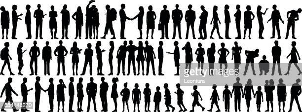 highly detailed people silhouettes - parent stock illustrations