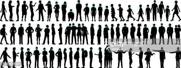 highly detailed people wearing surgical masks - in silhouette stock illustrations