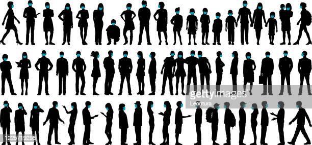 ilustrações de stock, clip art, desenhos animados e ícones de highly detailed people wearing surgical masks - jovem adulto