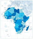 Highly detailed political map of Africa in colors of blue