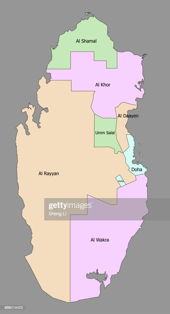Highly detailed political Qatar map