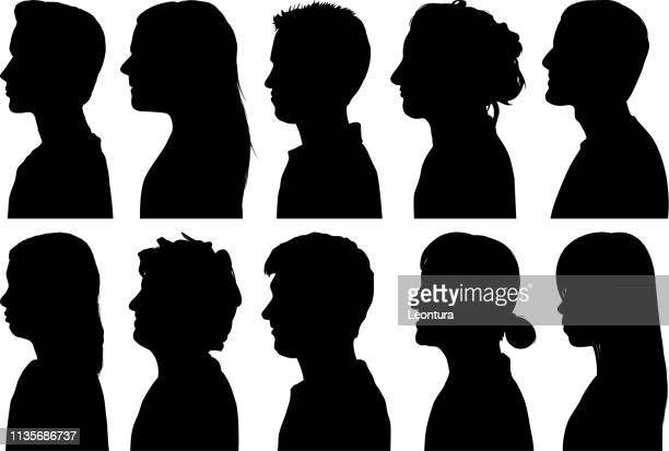 highly detailed profiles - profile view stock illustrations