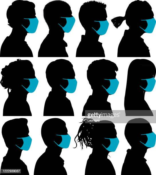 highly detailed profiles - woman wearing protective face mask stock illustrations