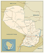Highly detailed road map of Paraguay with roads, railroads and water objects