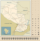 Highly detailed road map of Paraguay with roads, railroads and water objects and navigation icons