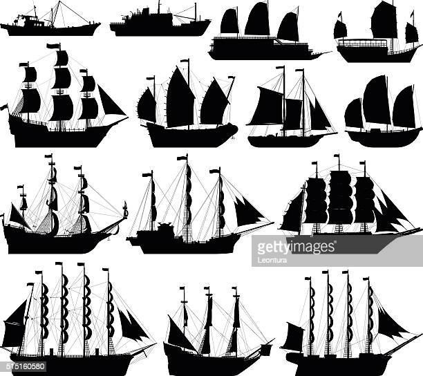 highly detailed ship silhouettes - navy ship stock illustrations