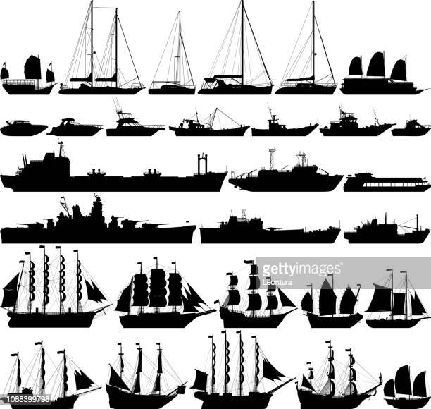 highly detailed ships and boats - navy ship stock illustrations