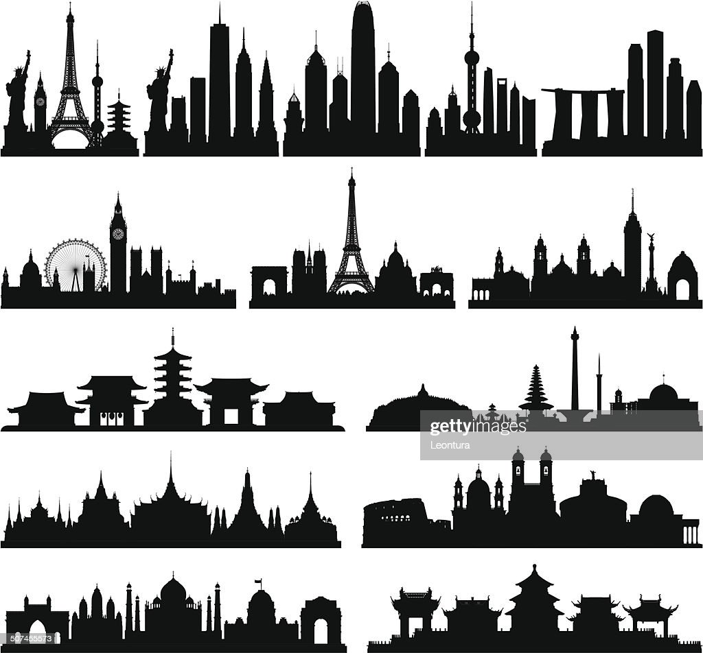 Highly Detailed Skylines (Complete, Moveable Buildings) : stock illustration