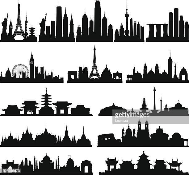 highly detailed skylines (complete, moveable buildings) - thailand stock illustrations