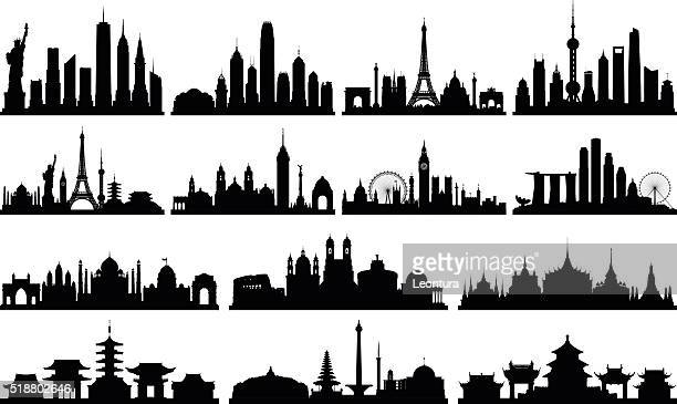 highly detailed skylines (complete, moveable buildings) - skyline stock illustrations