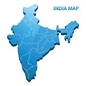 Highly detailed three dimensional map of India with regions border