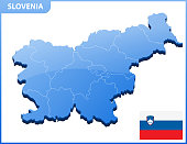 Highly detailed three dimensional map of Slovenia. Administrative division.