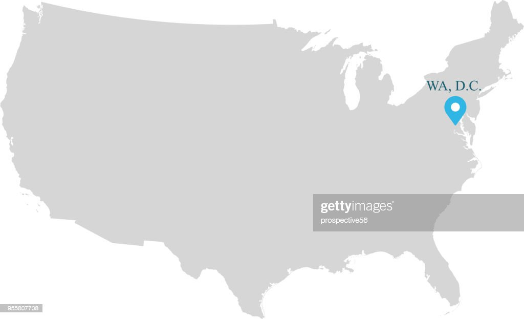 Picture of: Highly Detailed Usa Map Vector Outline Illustration With Capital Name Washington Dc Abbreviated And Labeled In Gray Background Accurate Map Of United States Of America Prepared By A Map Expert High Res Vector