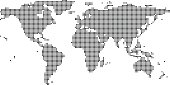Highly detailed World map dots, dotted World map vector outline, pixelated World map in black and white illustration background