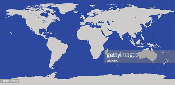 highly detailed world map vector outline - antarctica stock illustrations, clip art, cartoons, & icons