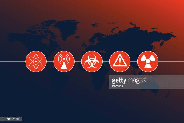 highly detailed world map with chemical disaster icons and gradient background - biohazardous substance stock illustrations