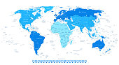 Highly Detailed World Map with Continent in Different Blue Color