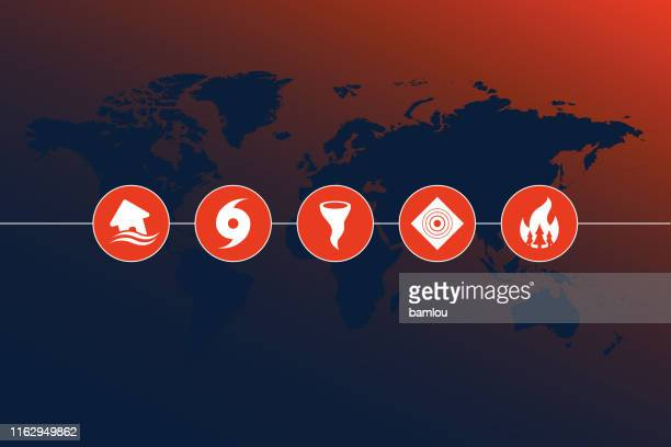 highly detailed world map with natural disaster icons and gradient background - emergencies and disasters stock illustrations