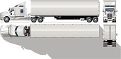 Highly illustrated vector image of semi truck