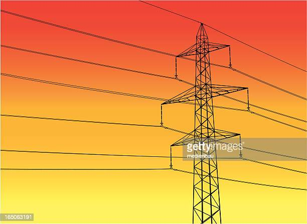 high-power pole - telephone line stock illustrations, clip art, cartoons, & icons