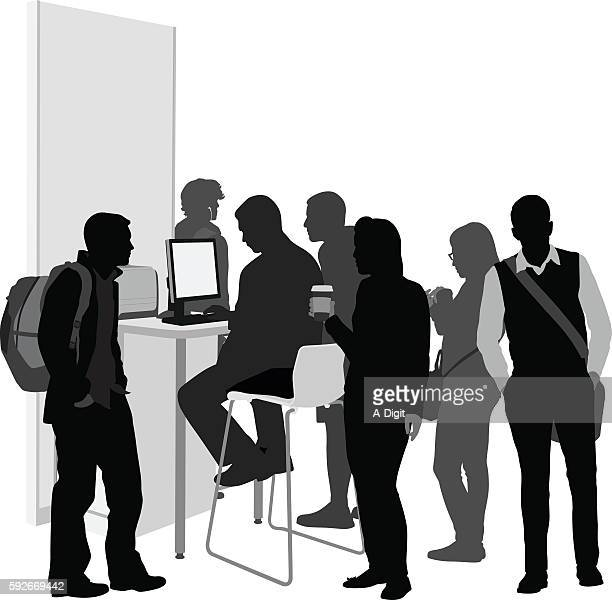 highschool crowd at the library computer - stool stock illustrations, clip art, cartoons, & icons