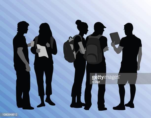 highschool-freund clique - hochschulstudium stock-grafiken, -clipart, -cartoons und -symbole