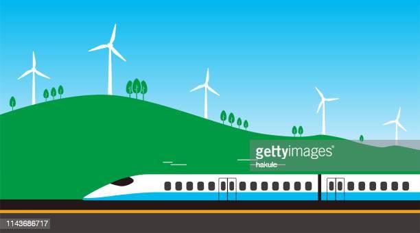 風力発電機と道路上の高速鉄道の旅 - 高速列車点のイラスト素材/クリップアート素材/マンガ素材/アイコン素材