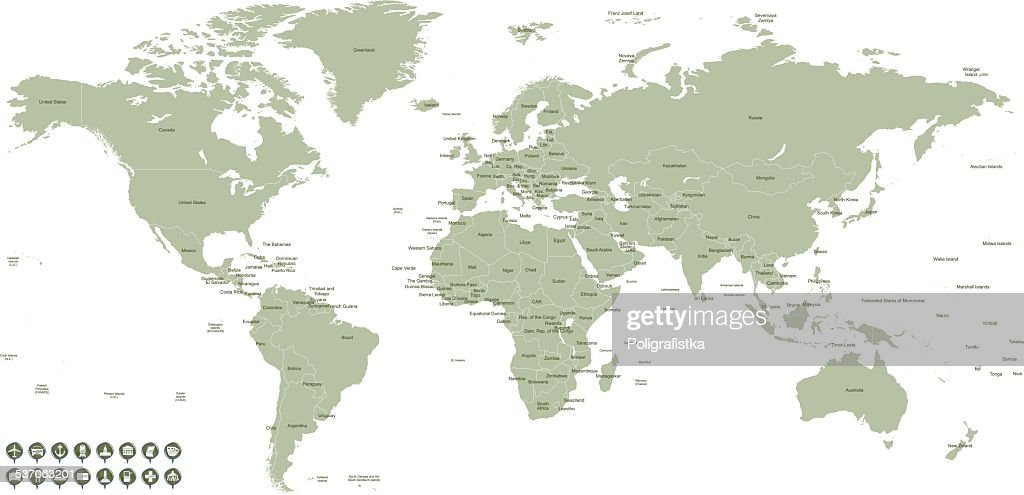 Hight detailed divided and labeled world map vector art getty images hight detailed divided and labeled world map vector art gumiabroncs Image collections