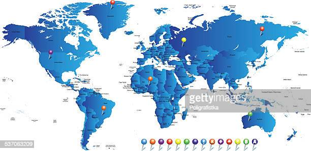 hight detailed divided and labeled world map - labeling stock illustrations, clip art, cartoons, & icons