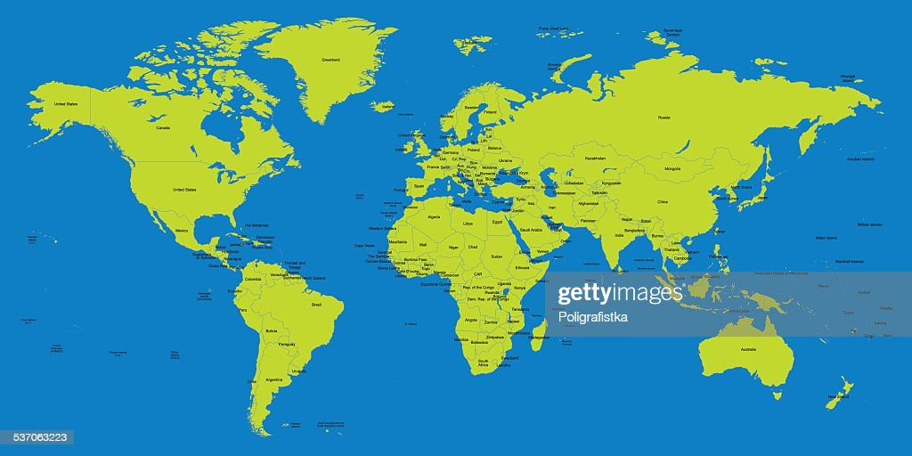 Hight Detailed Divided And Labeled World Map Vector Art Getty Images