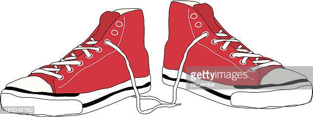 ilustraciones, imágenes clip art, dibujos animados e iconos de stock de tobillo alto - zapatillas de deporte