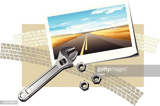 highway and repair - dividing line road marking stock illustrations, clip art, cartoons, & icons