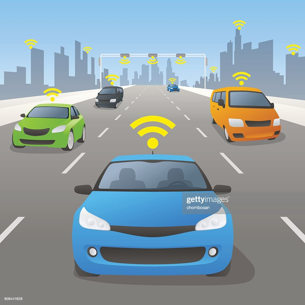 Highway communication system and vehicles, front view