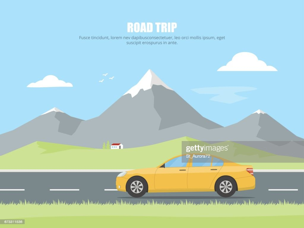 Highway drive with mountain landscape. Car rides on a highway in the background of a mountain landscape. Concept road trip. Outdoor recreation.