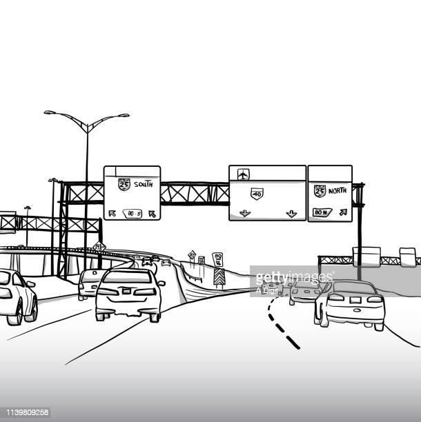 autobahn fährt - ausgemalte federzeichnung stock-grafiken, -clipart, -cartoons und -symbole