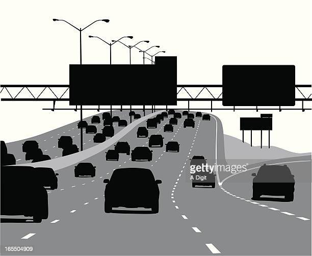 Highway Exit Vector Silhouette