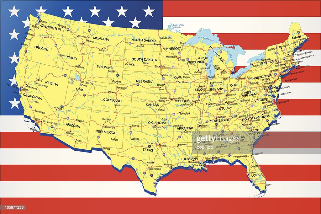 USA - Highway Map on American Flag Background