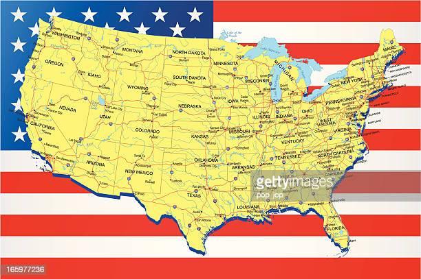 ilustrações, clipart, desenhos animados e ícones de eua-highway mapa no fundo da bandeira americana - geórgia sul dos estados unidos