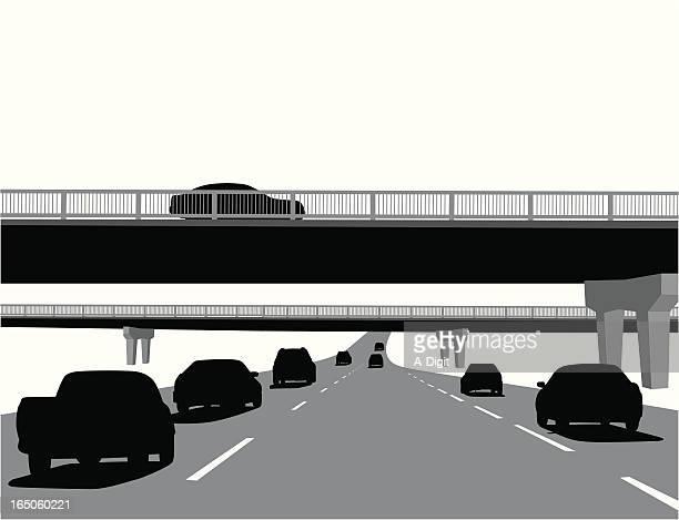 highway overpass vector silhouette - overpass road stock illustrations