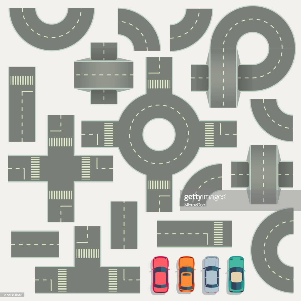 Highway road construction map top view vector elements