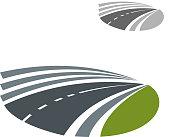 Highway road pass among green rural fields