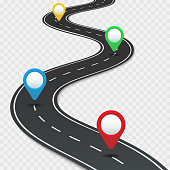 Highway roadmap with pins. Car road direction, gps route pin road trip navigation and roads business infographic vector illustration