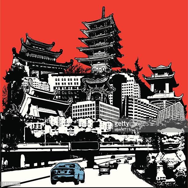 highway in den fernen osten - china east asia stock-grafiken, -clipart, -cartoons und -symbole